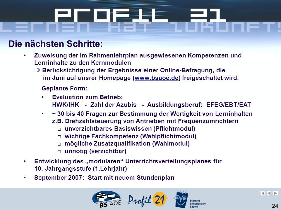 24 Die nächsten Schritte: Zuweisung der im Rahmenlehrplan ausgewiesenen Kompetenzen und Lerninhalte zu den Kernmodulen  Berücksichtigung der Ergebnisse einer Online-Befragung, die im Juni auf unsrer Homepage (www.bsaoe.de) freigeschaltet wird.www.bsaoe.de Geplante Form: Evaluation zum Betrieb: HWK/IHK - Zahl der Azubis - Ausbildungsberuf: EFEG/EBT/EAT ~ 30 bis 40 Fragen zur Bestimmung der Wertigkeit von Lerninhalten z.B.