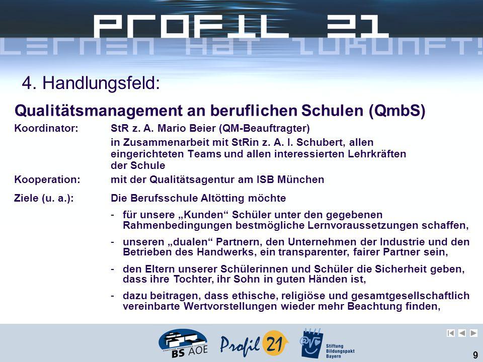 9 4. Handlungsfeld: Qualitätsmanagement an beruflichen Schulen (QmbS) Koordinator: StR z. A. Mario Beier (QM-Beauftragter) in Zusammenarbeit mit StRin