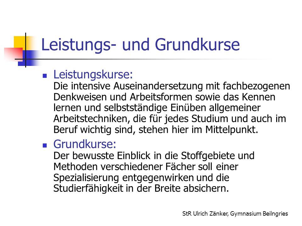 StR Ulrich Zänker, Gymnasium Beilngries Leistungs- und Grundkurse Leistungskurse: Die intensive Auseinandersetzung mit fachbezogenen Denkweisen und Ar