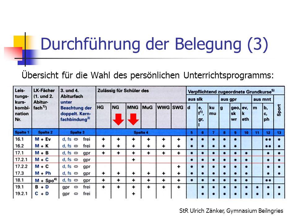 StR Ulrich Zänker, Gymnasium Beilngries Durchführung der Belegung (3) Übersicht für die Wahl des persönlichen Unterrichtsprogramms:  