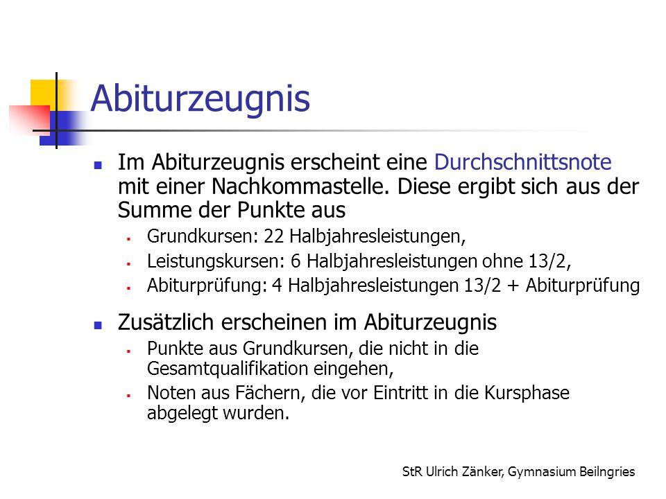 StR Ulrich Zänker, Gymnasium Beilngries Abiturzeugnis Im Abiturzeugnis erscheint eine Durchschnittsnote mit einer Nachkommastelle. Diese ergibt sich a