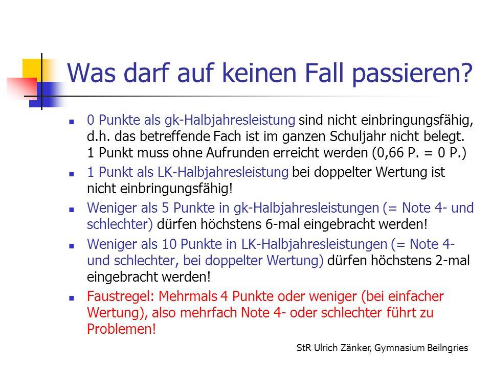 StR Ulrich Zänker, Gymnasium Beilngries Was darf auf keinen Fall passieren? 0 Punkte als gk-Halbjahresleistung sind nicht einbringungsfähig, d.h. das