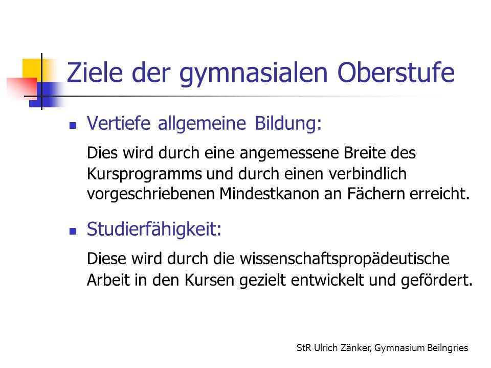 StR Ulrich Zänker, Gymnasium Beilngries Ziele der gymnasialen Oberstufe Vertiefe allgemeine Bildung: Dies wird durch eine angemessene Breite des Kursp