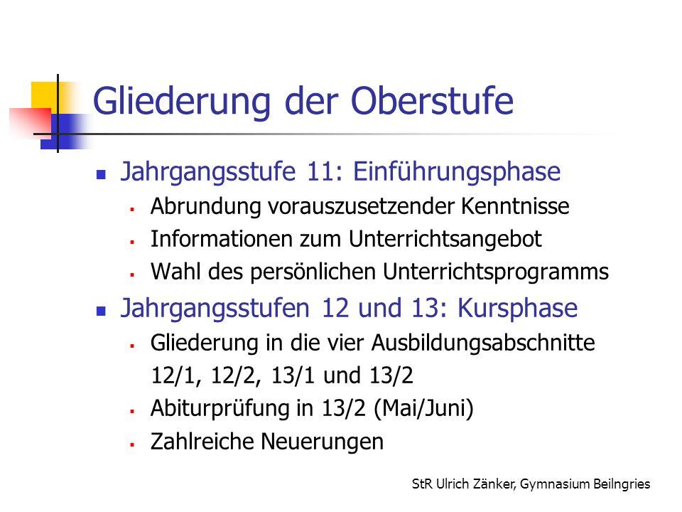 StR Ulrich Zänker, Gymnasium Beilngries Gliederung der Oberstufe Jahrgangsstufe 11: Einführungsphase  Abrundung vorauszusetzender Kenntnisse  Inform