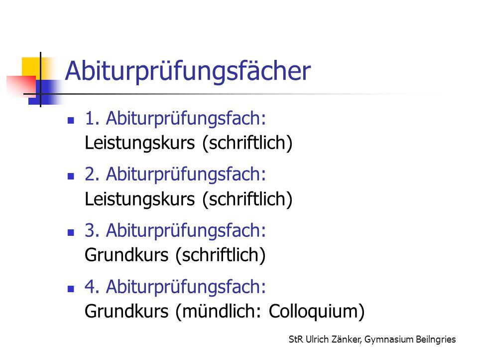 StR Ulrich Zänker, Gymnasium Beilngries Abiturprüfungsfächer 1. Abiturprüfungsfach: Leistungskurs (schriftlich) 2. Abiturprüfungsfach: Leistungskurs (