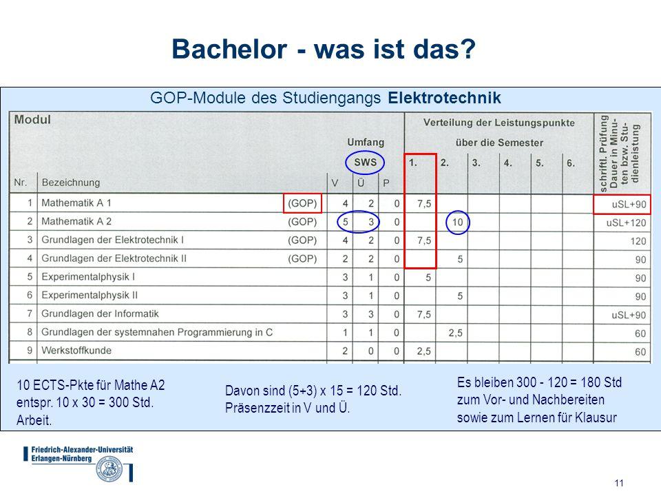 11 Bachelor - was ist das? 10 ECTS-Pkte für Mathe A2 entspr. 10 x 30 = 300 Std. Arbeit. Davon sind (5+3) x 15 = 120 Std. Präsenzzeit in V und Ü. Es bl