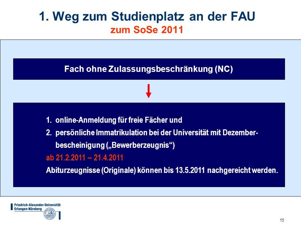 15 1. Weg zum Studienplatz an der FAU zum SoSe 2011 Fach ohne Zulassungsbeschränkung (NC) 1. online-Anmeldung für freie Fächer und 2. persönliche Imma