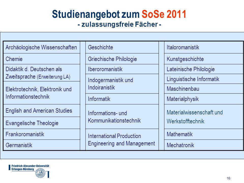 16 Studienangebot zum SoSe 2011 - zulassungsfreie Fächer - Archäologische WissenschaftenGeschichteItaloromanistik ChemieGriechische PhilologieKunstges