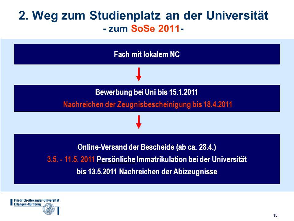 18 2. Weg zum Studienplatz an der Universität - zum SoSe 2011- Bewerbung bei Uni bis 15.1.2011 Nachreichen der Zeugnisbescheinigung bis 18.4.2011 Fach