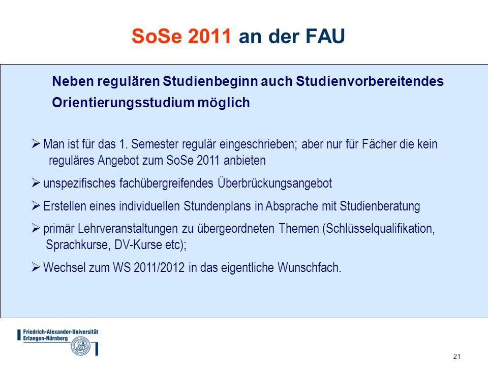 21 SoSe 2011 an der FAU Neben regulären Studienbeginn auch Studienvorbereitendes Orientierungsstudium möglich  Man ist für das 1. Semester regulär ei