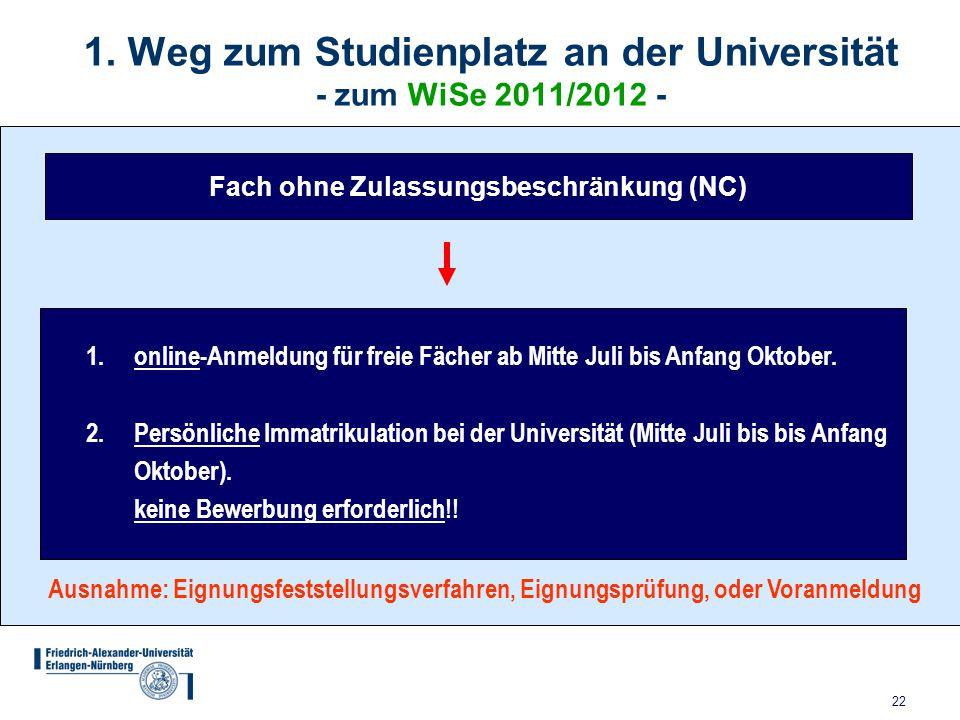 22 1. Weg zum Studienplatz an der Universität - zum WiSe 2011/2012 - Fach ohne Zulassungsbeschränkung (NC) Ausnahme: Eignungsfeststellungsverfahren, E