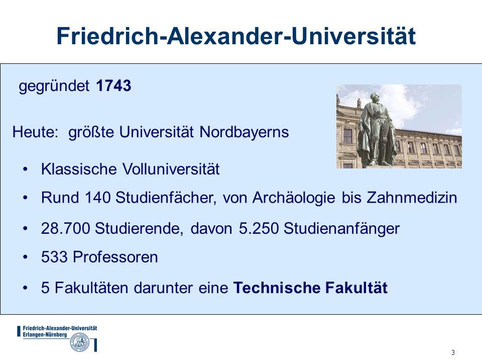 3 Friedrich-Alexander-Universität gegründet 1743 Heute: größte Universität Nordbayerns Klassische Volluniversität Rund 140 Studienfächer, von Archäolo