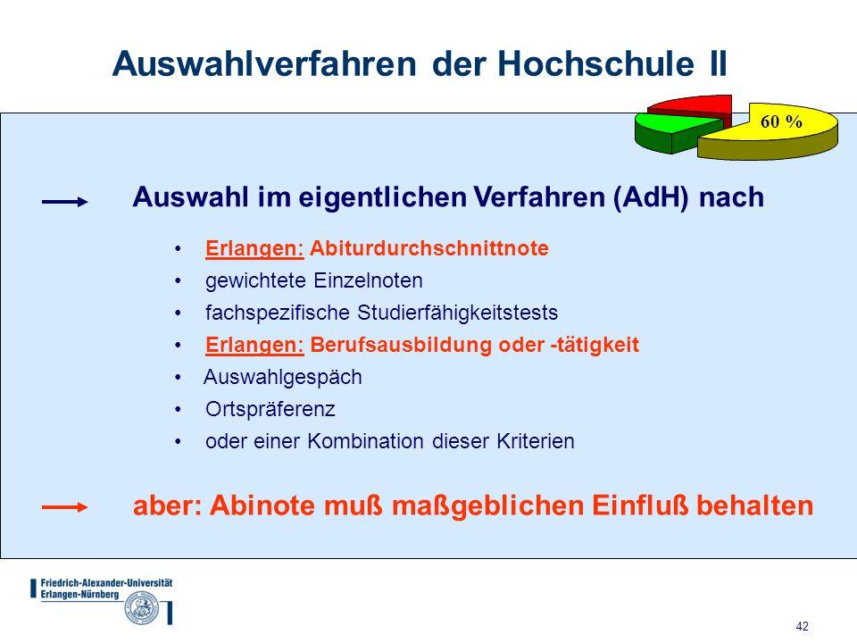 42 Auswahlverfahren der Hochschule II 60 % Auswahl im eigentlichen Verfahren (AdH) nach Erlangen: Abiturdurchschnittnote gewichtete Einzelnoten fachsp