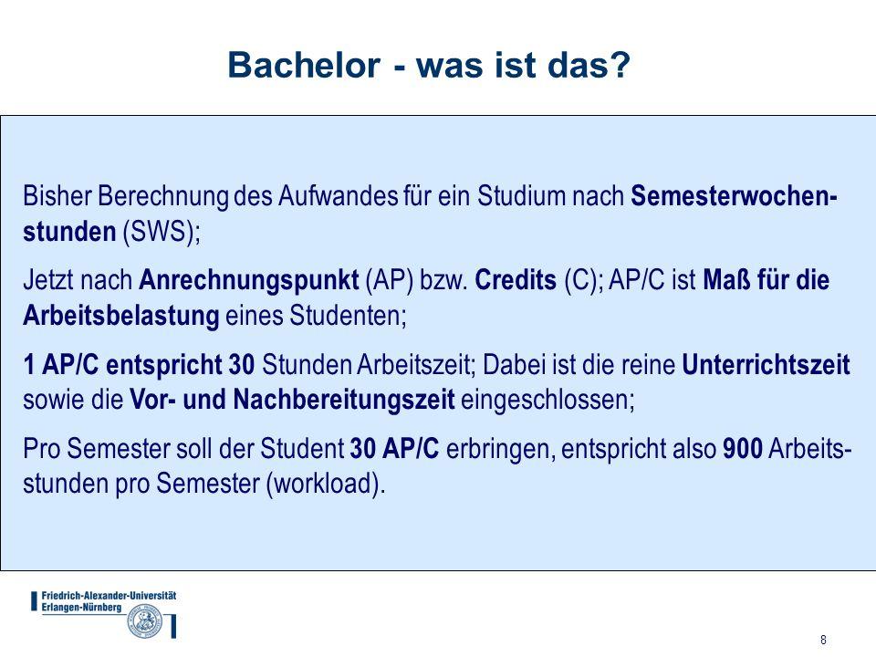 8 Bachelor - was ist das? Bisher Berechnung des Aufwandes für ein Studium nach Semesterwochen- stunden (SWS); Jetzt nach Anrechnungspunkt (AP) bzw. Cr