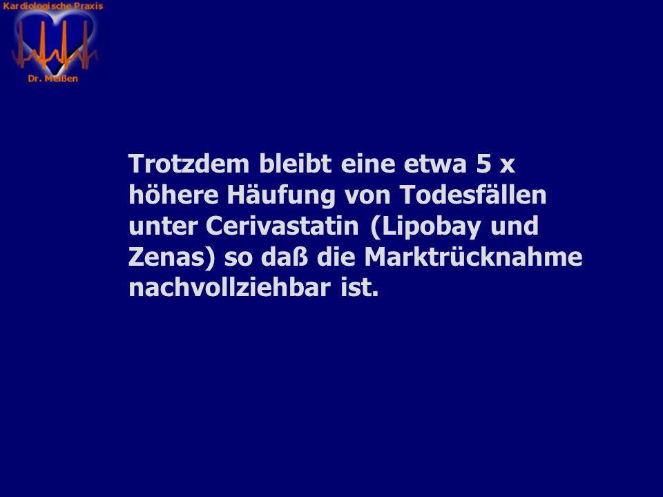 Etwa die Hälfte der berichteten Todesfälle unter Cerivastatin sind durch die Kombination mit einem ebenfalls cholesterinsenkenden Medikament Gemfibroz