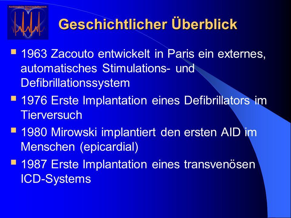 Geschichtlicher Überblick  1963 Zacouto entwickelt in Paris ein externes, automatisches Stimulations- und Defibrillationssystem  1976 Erste Implanta