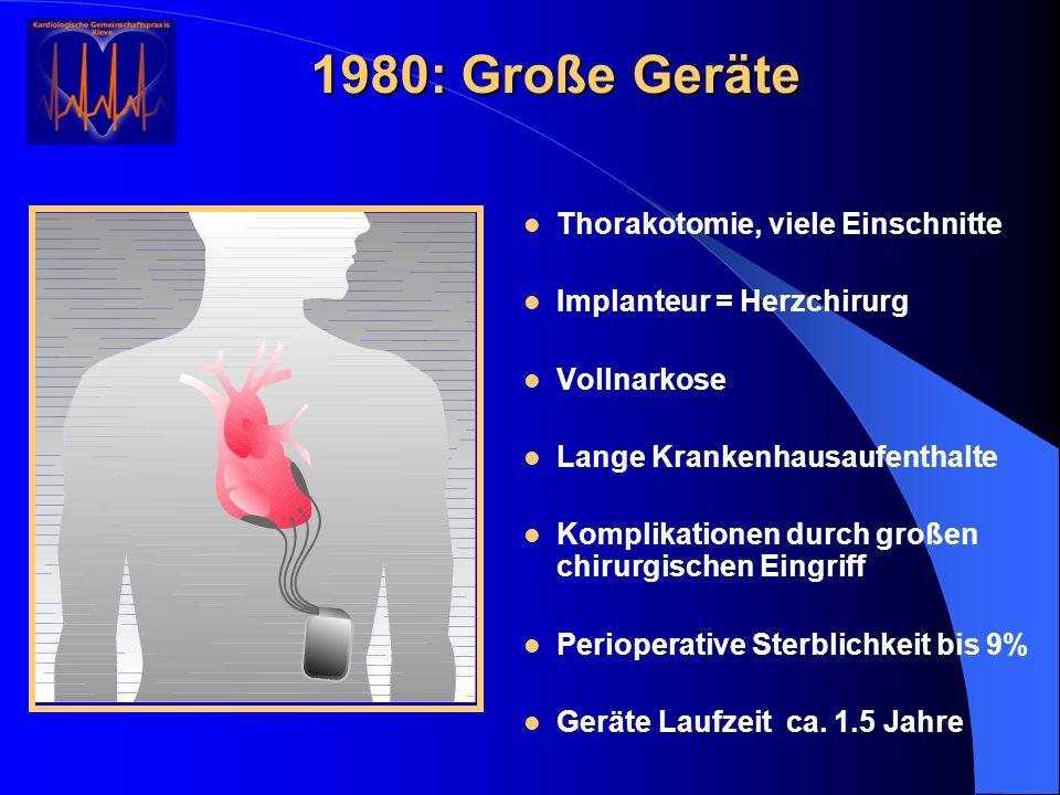 Thorakotomie, viele Einschnitte Implanteur = Herzchirurg Vollnarkose Lange Krankenhausaufenthalte Komplikationen durch großen chirurgischen Eingriff P
