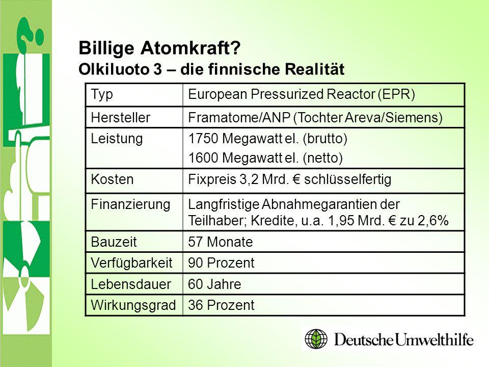 Billige Atomkraft? Olkiluoto 3 – die finnische Realität TypEuropean Pressurized Reactor (EPR) HerstellerFramatome/ANP (Tochter Areva/Siemens) Leistung