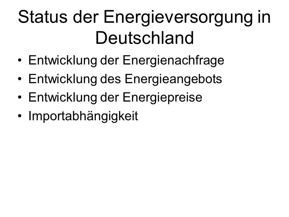 Status der Energieversorgung in Deutschland Entwicklung der Energienachfrage Entwicklung des Energieangebots Entwicklung der Energiepreise Importabhängigkeit