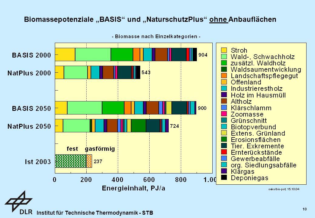"""Institut für Technische Thermodynamik - STB 10 Biomassepotenziale """"BASIS und """"NaturschutzPlus ohne Anbauflächen"""