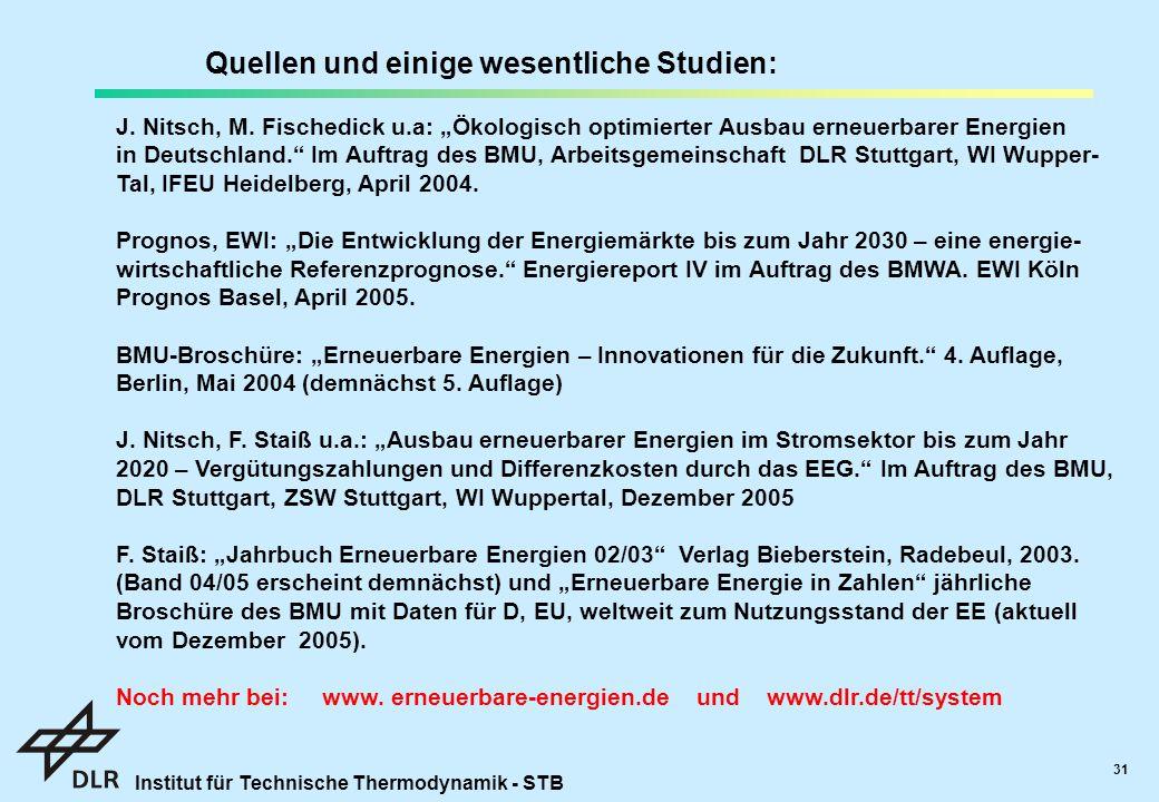 Institut für Technische Thermodynamik - STB 31 Quellen und einige wesentliche Studien: J.