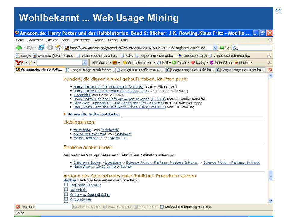 11 Wohlbekannt... Web Usage Mining