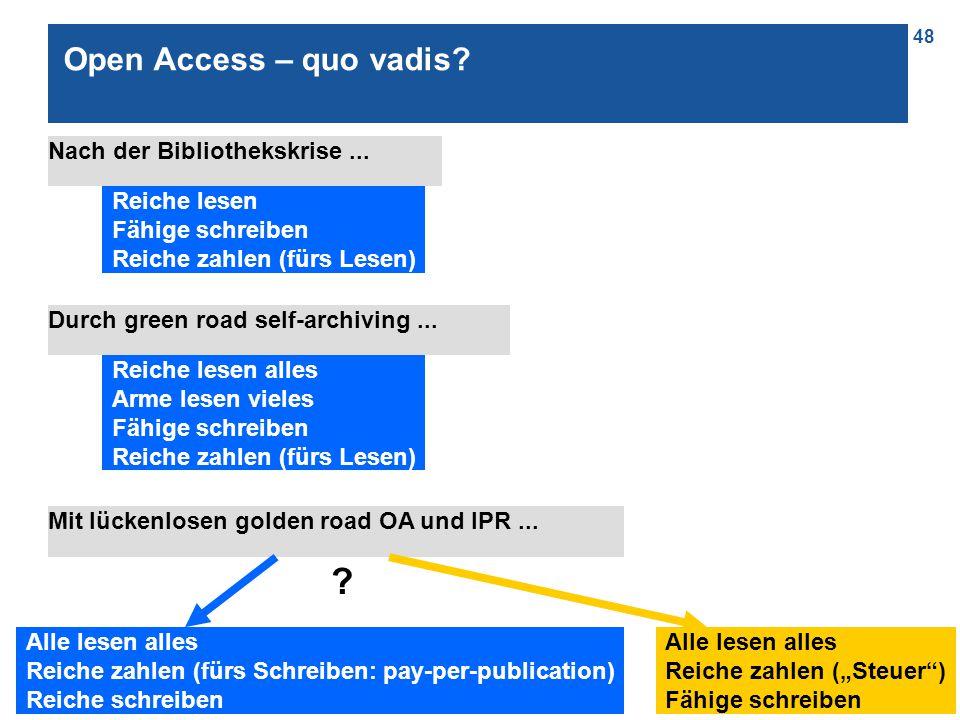 48 Open Access – quo vadis. Nach der Bibliothekskrise...