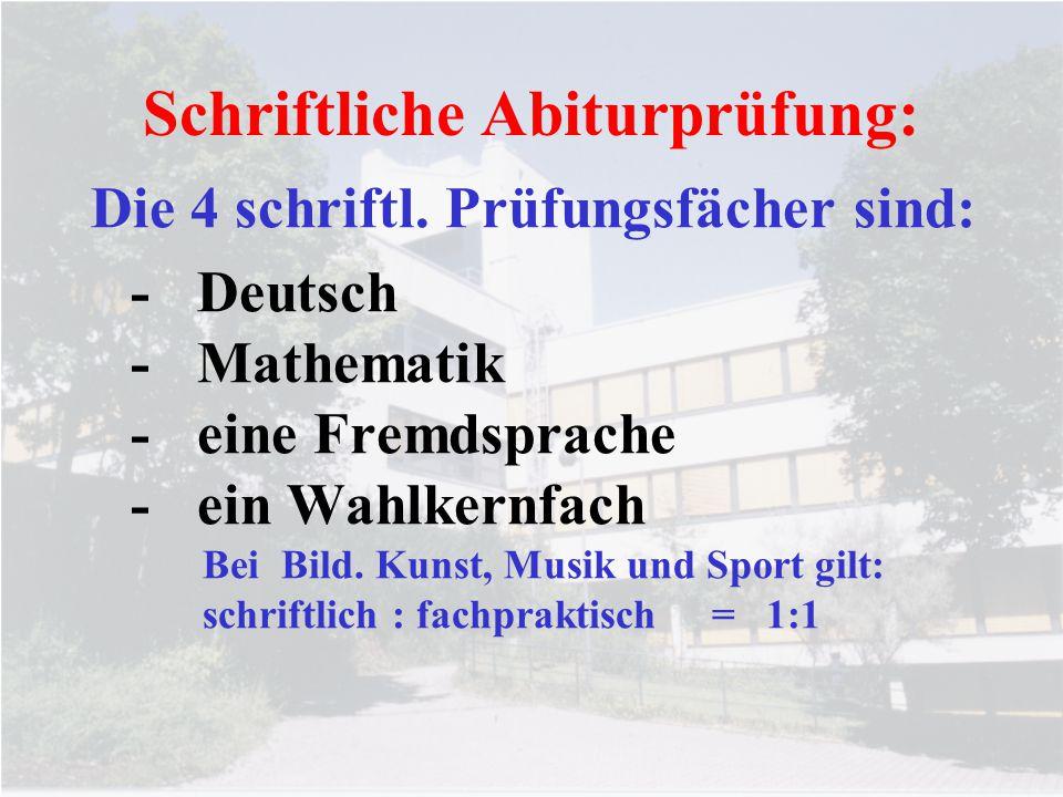 Schriftliche Abiturprüfung: Die 4 schriftl. Prüfungsfächer sind: -Deutsch -Mathematik -eine Fremdsprache -ein Wahlkernfach Bei Bild. Kunst, Musik und