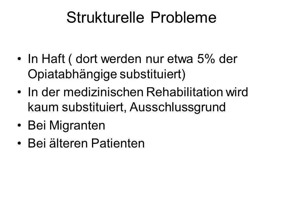 Strukturelle Probleme In Haft ( dort werden nur etwa 5% der Opiatabhängige substituiert) In der medizinischen Rehabilitation wird kaum substituiert, Ausschlussgrund Bei Migranten Bei älteren Patienten