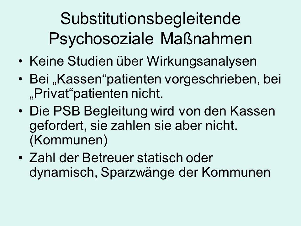 """Substitutionsbegleitende Psychosoziale Maßnahmen Keine Studien über Wirkungsanalysen Bei """"Kassen patienten vorgeschrieben, bei """"Privat patienten nicht."""
