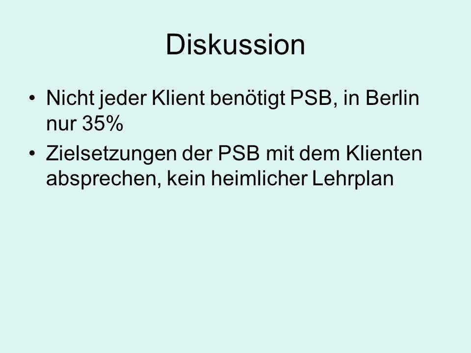 Diskussion Nicht jeder Klient benötigt PSB, in Berlin nur 35% Zielsetzungen der PSB mit dem Klienten absprechen, kein heimlicher Lehrplan