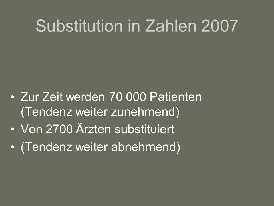 Substitution in Zahlen 2007 Zur Zeit werden 70 000 Patienten (Tendenz weiter zunehmend) Von 2700 Ärzten substituiert (Tendenz weiter abnehmend)