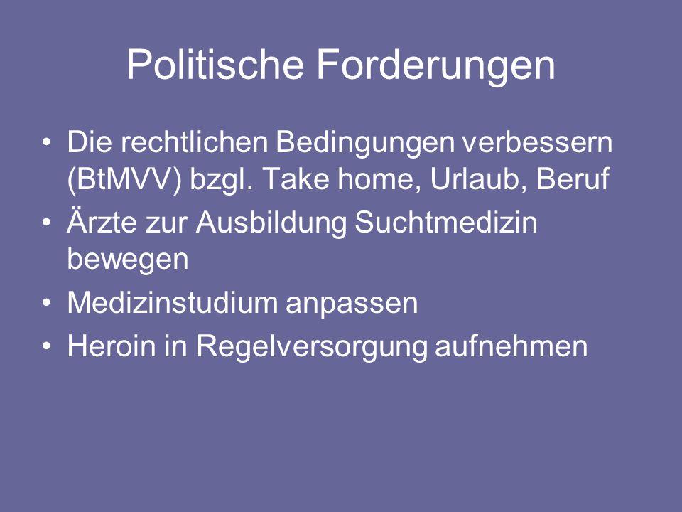 Politische Forderungen Die rechtlichen Bedingungen verbessern (BtMVV) bzgl.