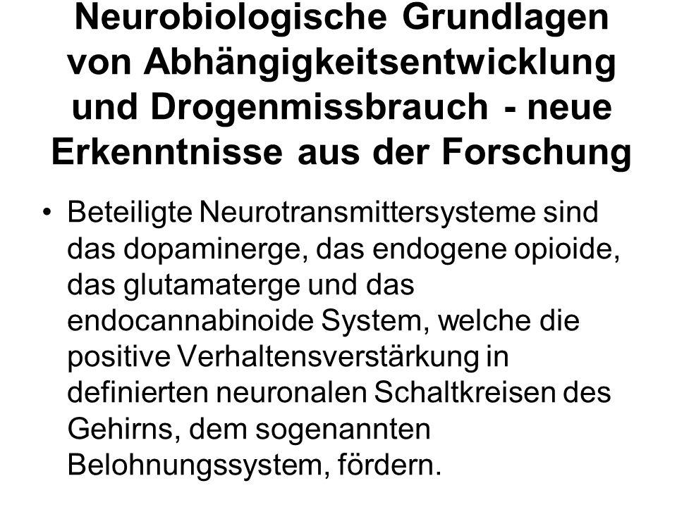 Neurobiologische Grundlagen von Abhängigkeitsentwicklung und Drogenmissbrauch - neue Erkenntnisse aus der Forschung Beteiligte Neurotransmittersysteme