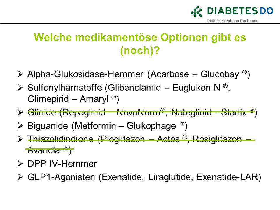 Welche medikamentöse Optionen gibt es (noch)?  Alpha-Glukosidase-Hemmer (Acarbose – Glucobay ® )  Sulfonylharnstoffe (Glibenclamid – Euglukon N ®, G