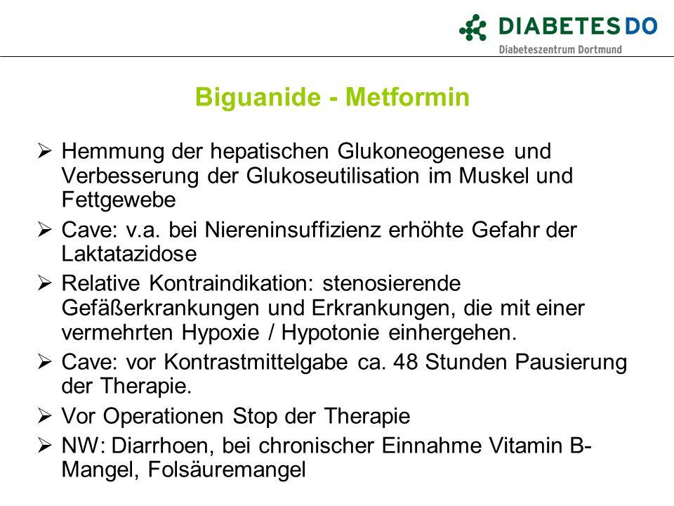 Biguanide - Metformin  Hemmung der hepatischen Glukoneogenese und Verbesserung der Glukoseutilisation im Muskel und Fettgewebe  Cave: v.a. bei Niere