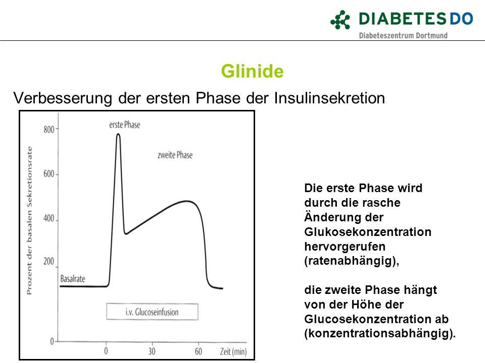 Glinide Verbesserung der ersten Phase der Insulinsekretion Die erste Phase wird durch die rasche Änderung der Glukosekonzentration hervorgerufen (rate