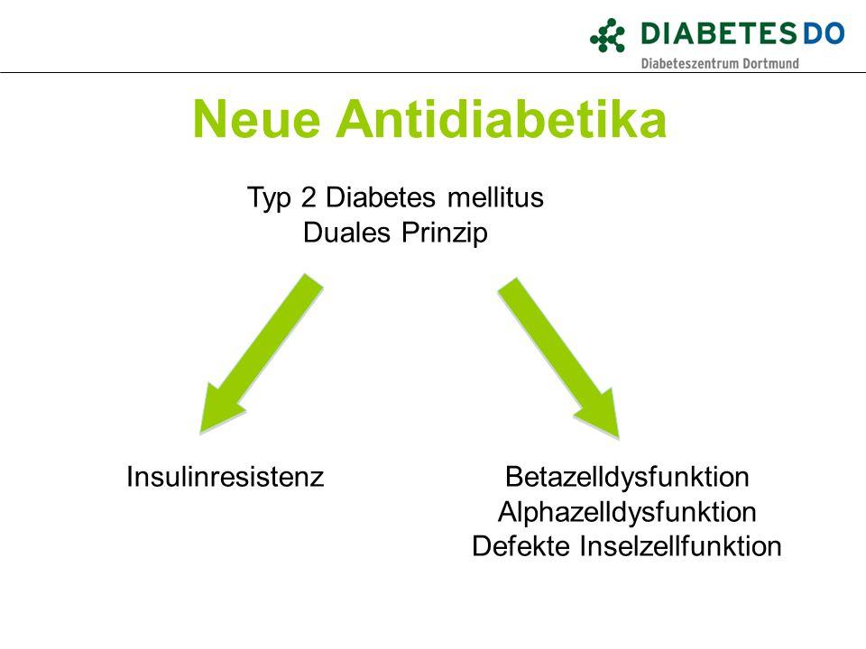 Neue Antidiabetika Typ 2 Diabetes mellitus Duales Prinzip InsulinresistenzBetazelldysfunktion Alphazelldysfunktion Defekte Inselzellfunktion