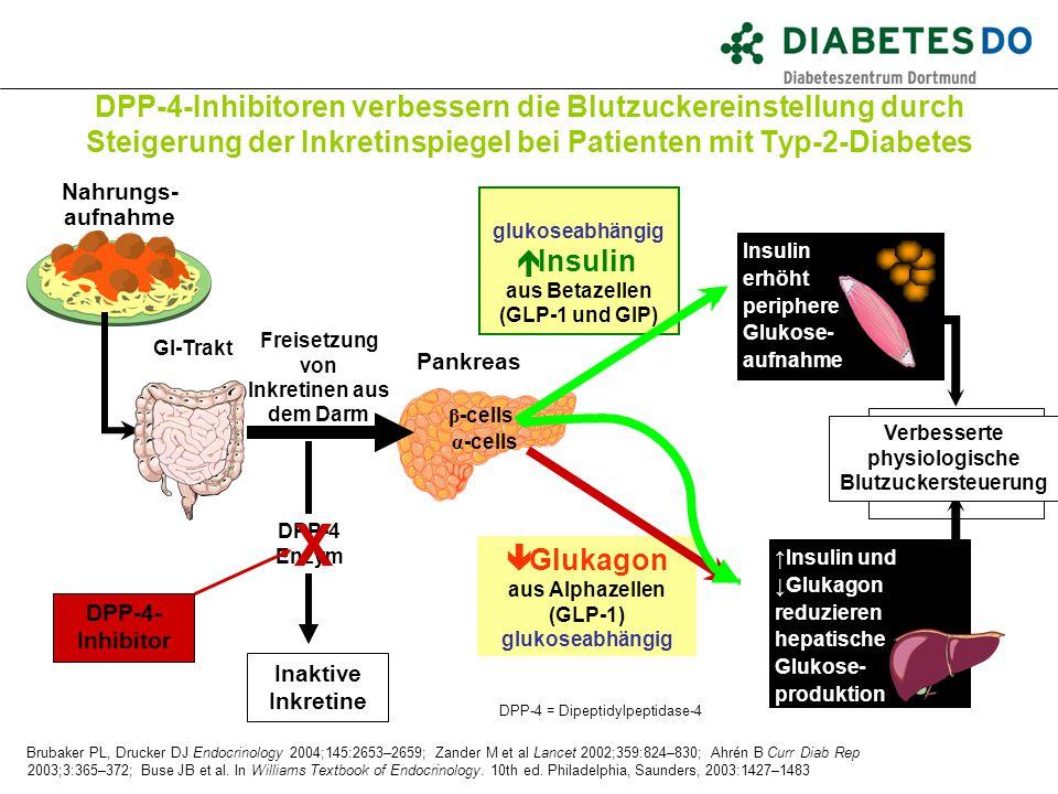 ↑Insulin und ↓Glukagon reduzieren hepatische Glukose- produktion glukoseabhängig  Insulin aus Betazellen (GLP-1 und GIP) Brubaker PL, Drucker DJ Endo