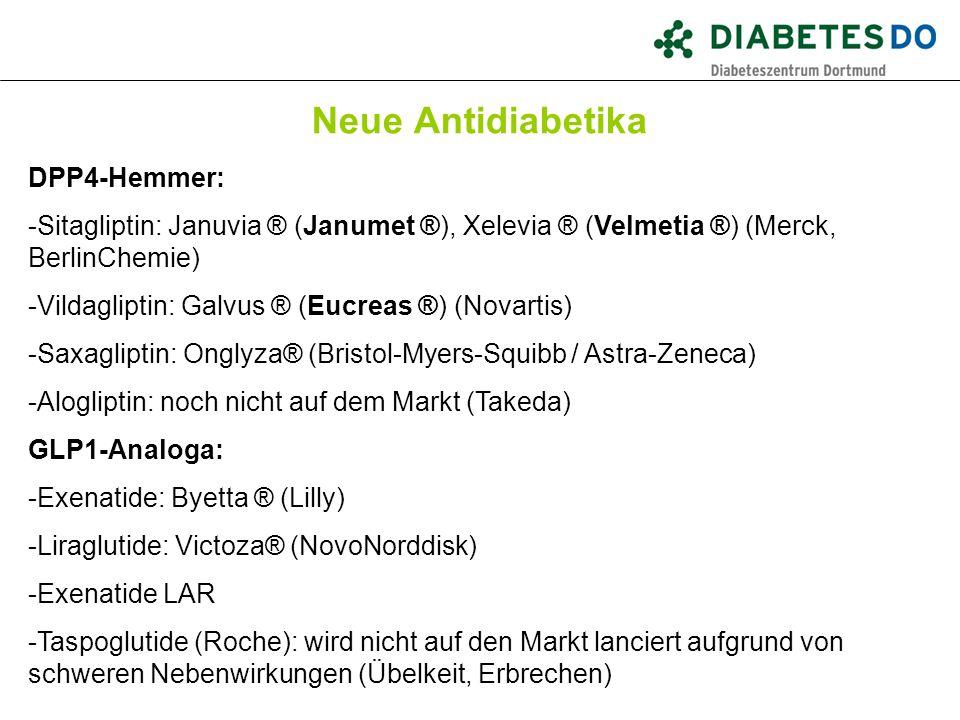 Neue Antidiabetika Was ist gesichert? DPP4-Hemmer: -Sitagliptin: Januvia ® (Janumet ®), Xelevia ® (Velmetia ®) (Merck, BerlinChemie) -Vildagliptin: Ga