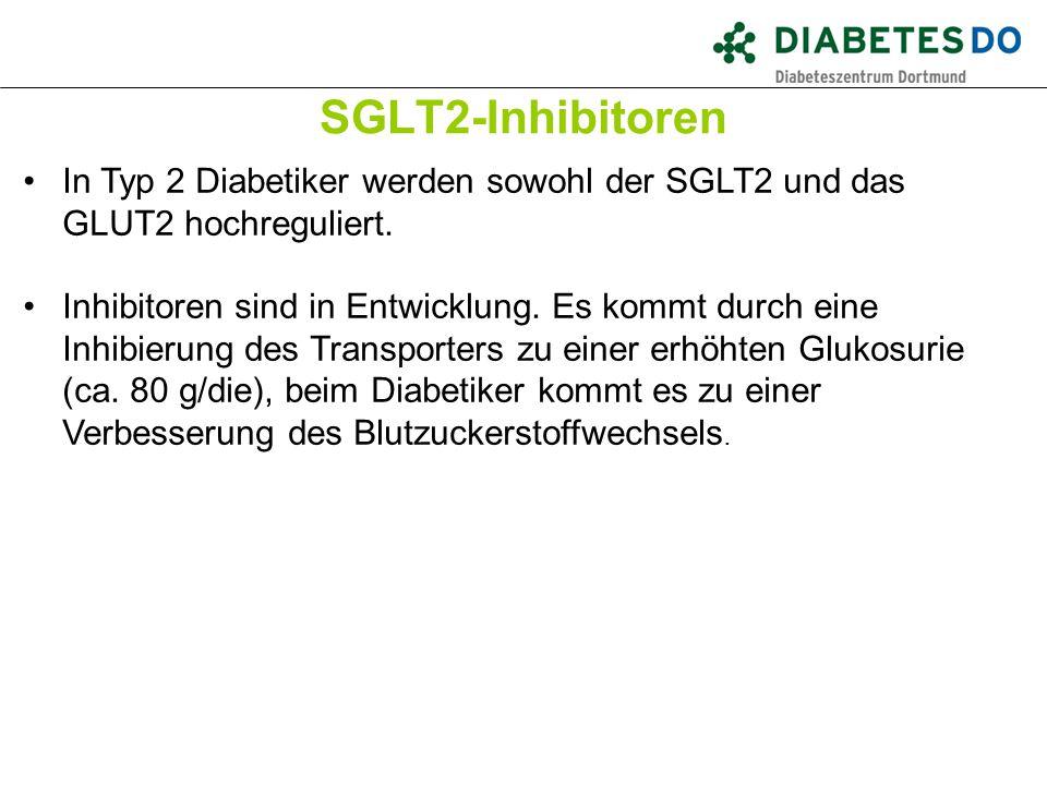 SGLT2-Inhibitoren Was ist gesichert? In Typ 2 Diabetiker werden sowohl der SGLT2 und das GLUT2 hochreguliert. Inhibitoren sind in Entwicklung. Es komm