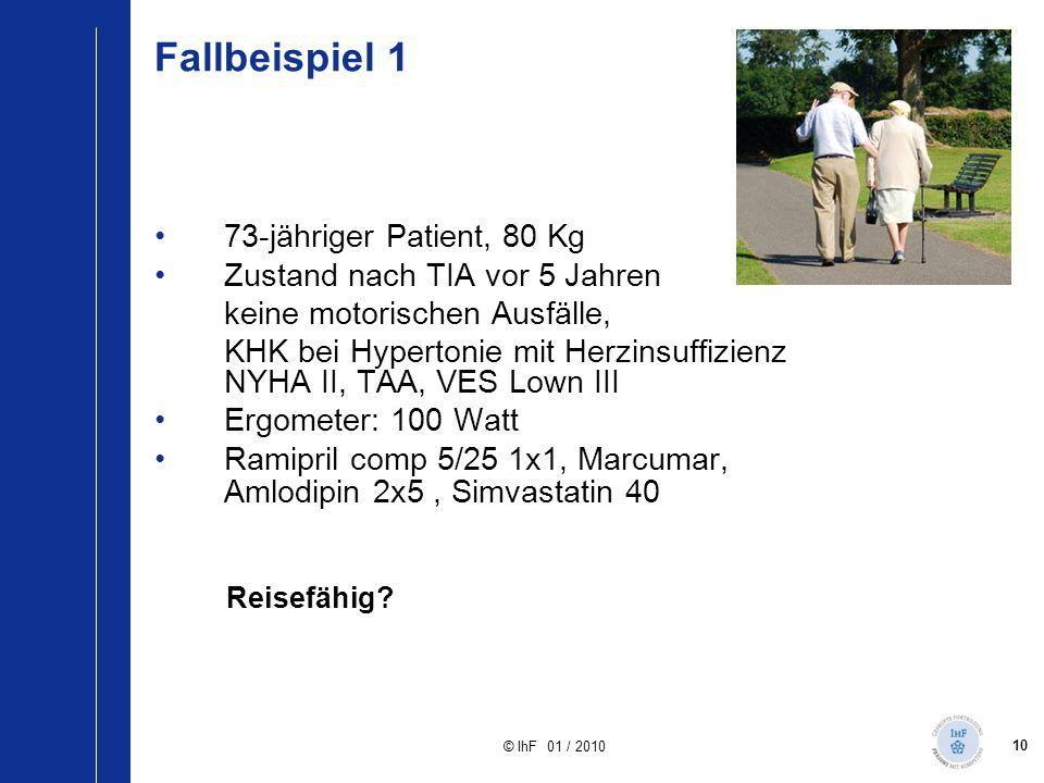 10 © IhF 01 / 2010 Fallbeispiel 1 73-jähriger Patient, 80 Kg Zustand nach TIA vor 5 Jahren keine motorischen Ausfälle, KHK bei Hypertonie mit Herzinsu
