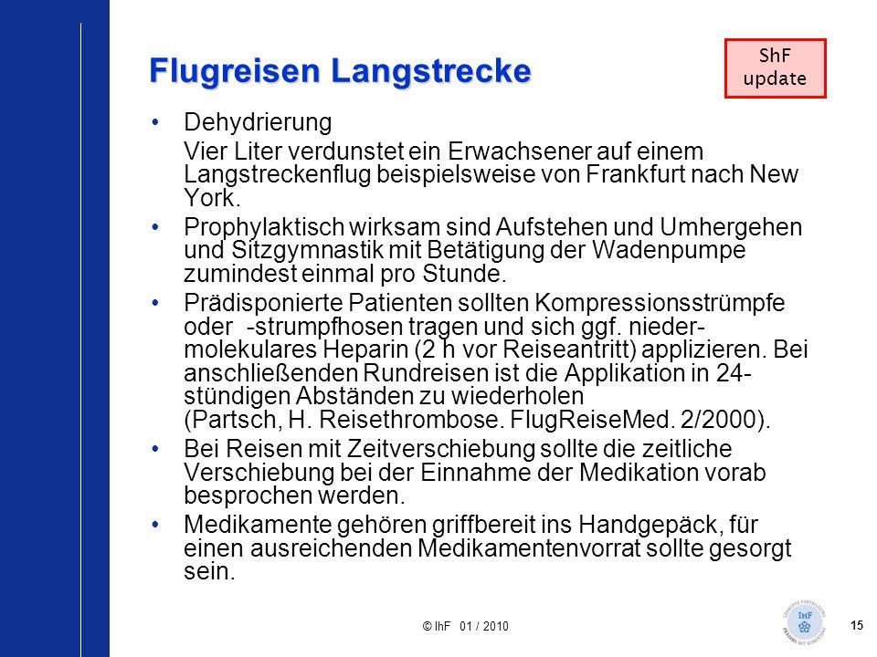 15 © IhF 01 / 2010 Flugreisen Langstrecke Dehydrierung Vier Liter verdunstet ein Erwachsener auf einem Langstreckenflug beispielsweise von Frankfurt n