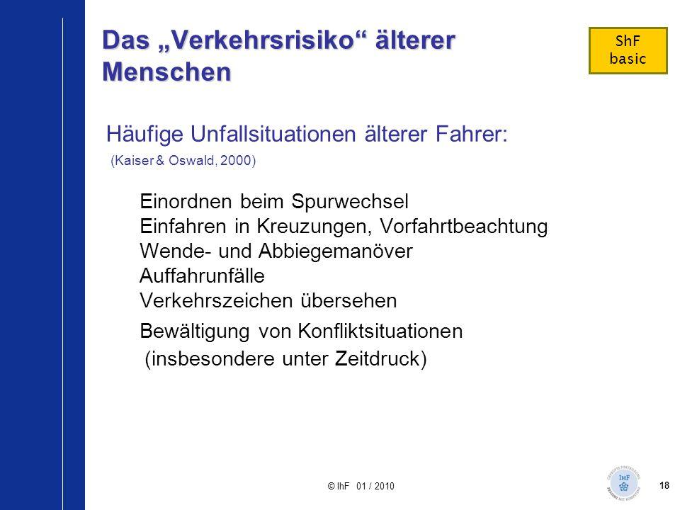 """18 © IhF 01 / 2010 Das """"Verkehrsrisiko"""" älterer Menschen Häufige Unfallsituationen älterer Fahrer: (Kaiser & Oswald, 2000) Einordnen beim Spurwechsel"""
