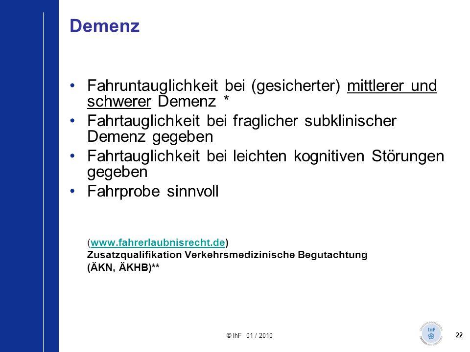 22 © IhF 01 / 2010 Demenz Fahruntauglichkeit bei (gesicherter) mittlerer und schwerer Demenz * Fahrtauglichkeit bei fraglicher subklinischer Demenz ge