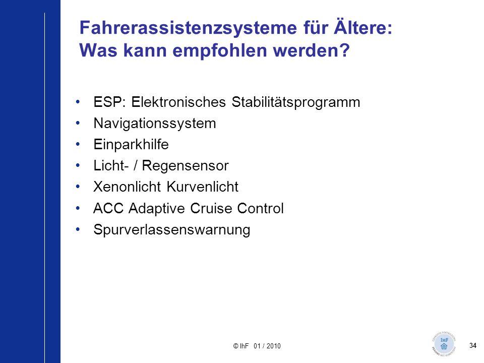 34 © IhF 01 / 2010 Fahrerassistenzsysteme für Ältere: Was kann empfohlen werden? ESP: Elektronisches Stabilitätsprogramm Navigationssystem Einparkhilf
