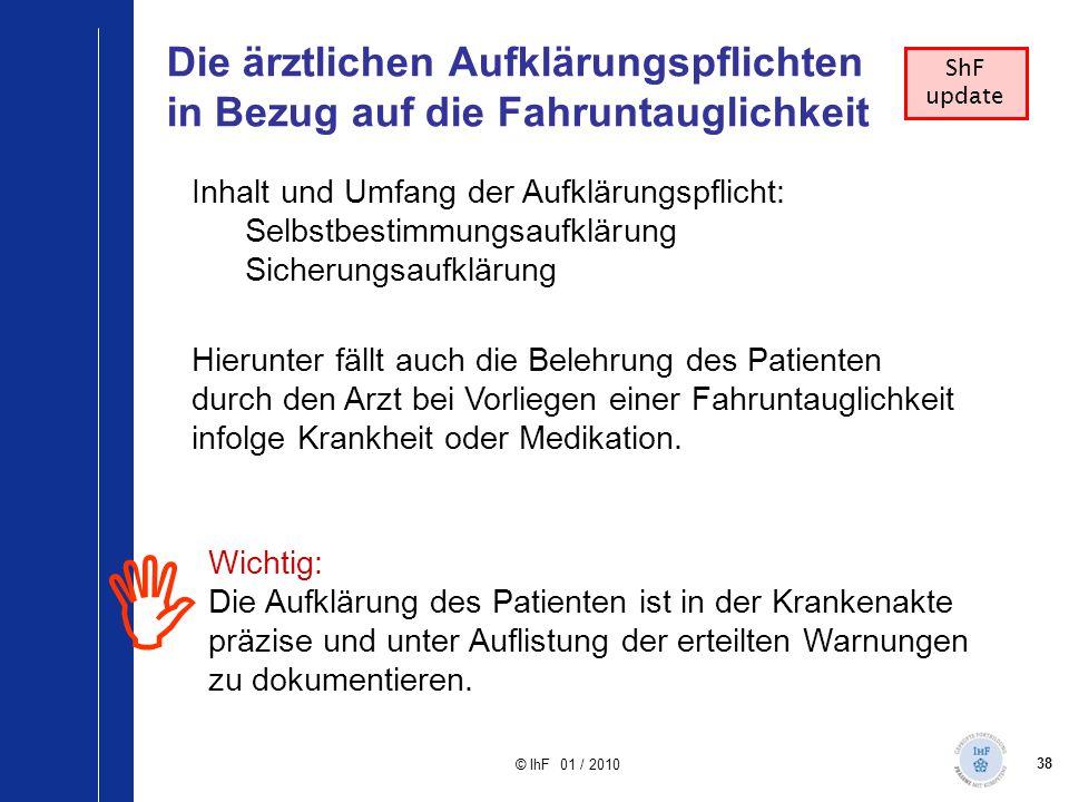 38 © IhF 01 / 2010 Die ärztlichen Aufklärungspflichten in Bezug auf die Fahruntauglichkeit  ShF update Inhalt und Umfang der Aufklärungspflicht: Selb
