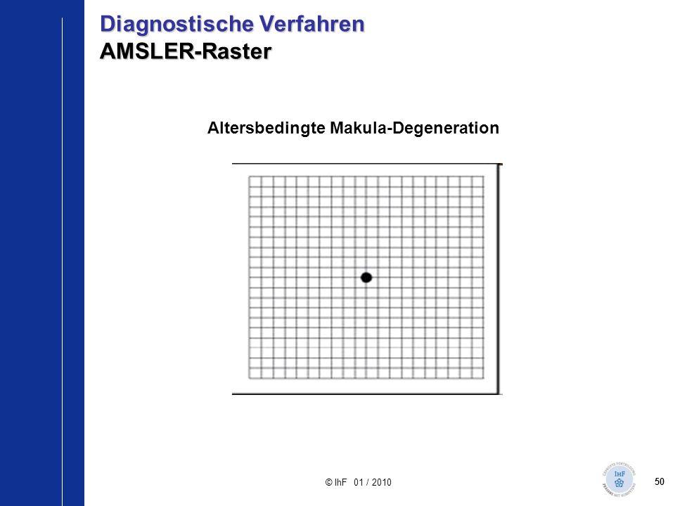 50 © IhF 01 / 2010 Altersbedingte Makula-Degeneration Diagnostische Verfahren AMSLER-Raster