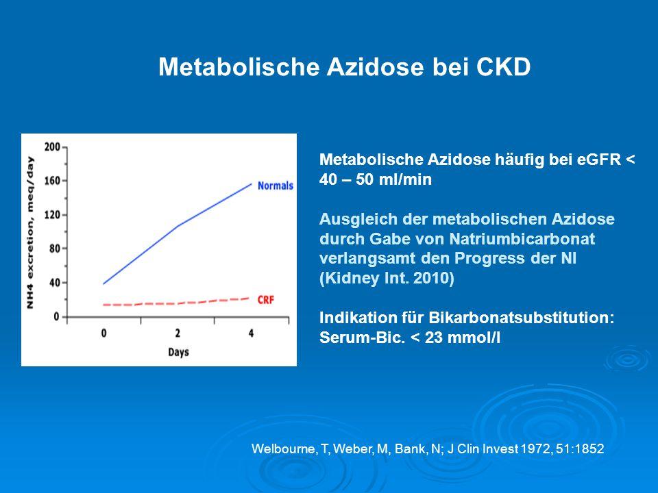 Welbourne, T, Weber, M, Bank, N; J Clin Invest 1972, 51:1852 Metabolische Azidose bei CKD Metabolische Azidose häufig bei eGFR < 40 – 50 ml/min Ausgle