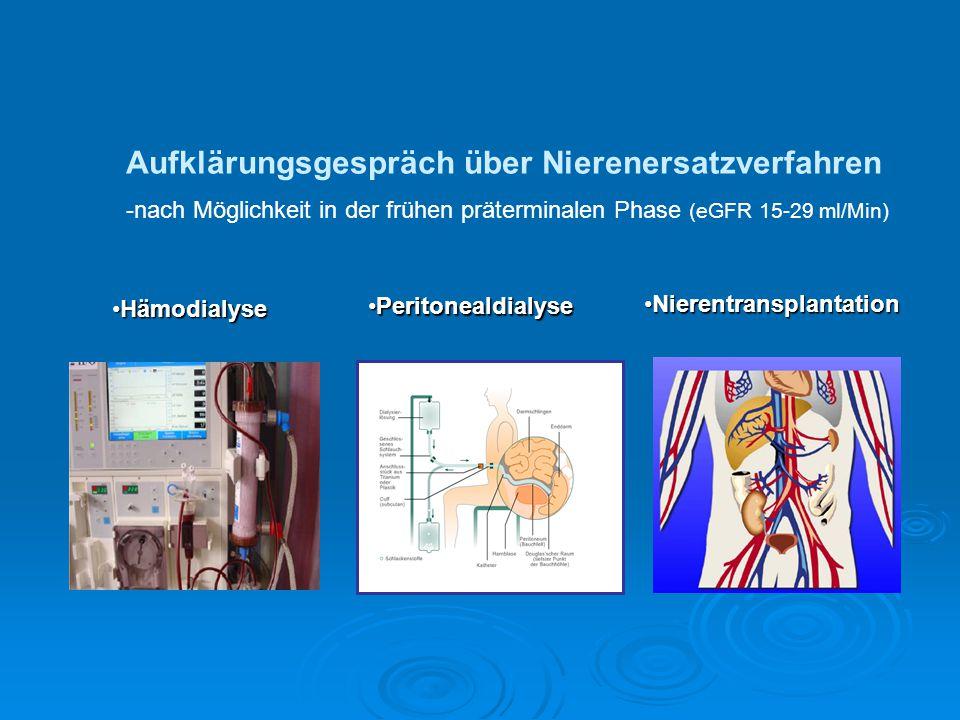 NierentransplantationNierentransplantation Aufklärungsgespräch über Nierenersatzverfahren -nach Möglichkeit in der frühen präterminalen Phase (eGFR 15
